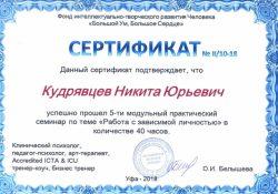 Сертификат, подтверждающий квалификацию в области ресоциализации и реабилитации лиц, страдающих зависимостью