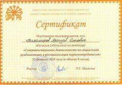 Сертификат, подтверждающий квалификацию в области реабилитации и ресоциализации зависимых
